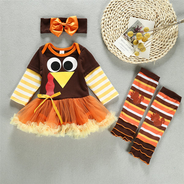 Baby Girls 3-Piece Thanksgiving Striped Turkey Sets Babywear Wholesale