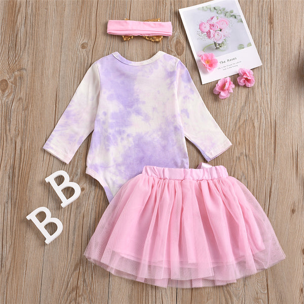 Baby Girls Tie Dye  3-Piece Romper & Tutu Skirt Baby Clothes Cheap Wholesale