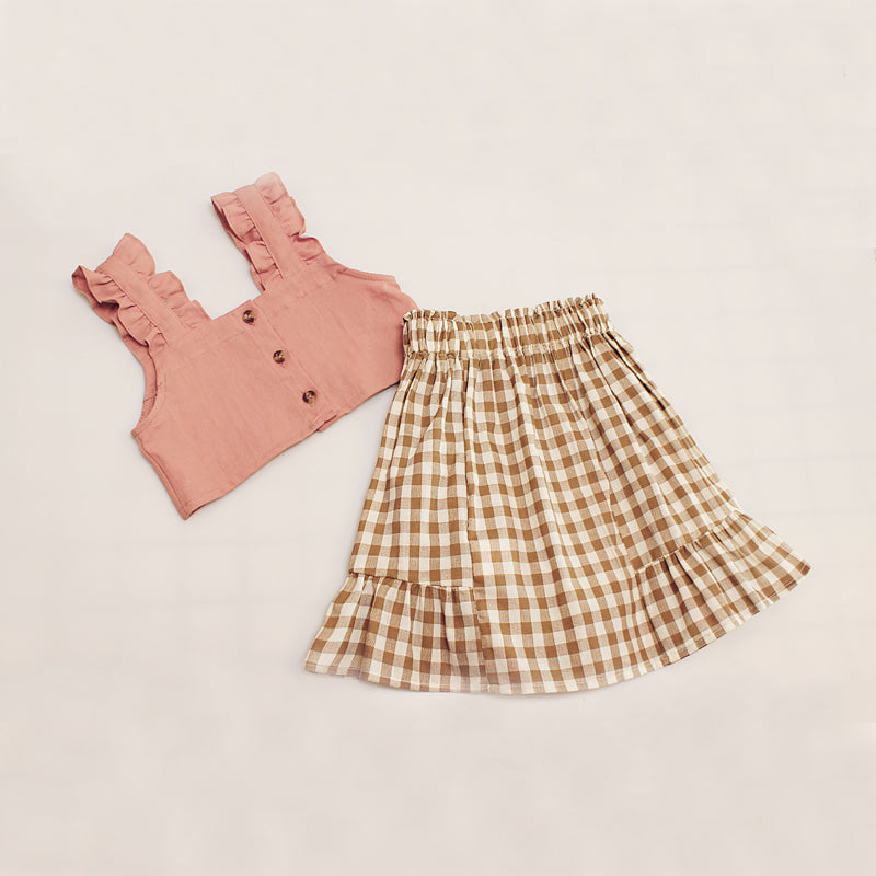 2-Piece Solid Color Suspender Top Plaid Pleated Skirt