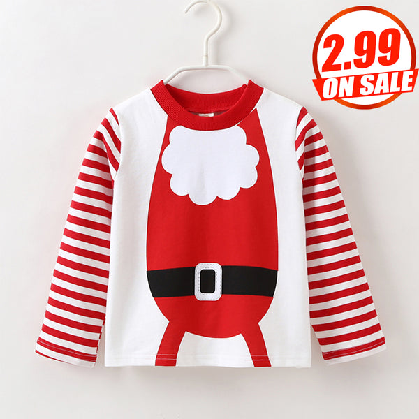 34PCS No Profit On Sale Clearance & Closeout Specials Unisex Christmas Striped Long Sleeve Top Kids Clothing Vendors