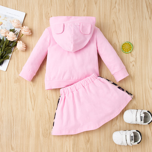 35PCS No Profit On Sale Clearance & Closeout Specials Baby Girls Long Sleeve LeopardHooded Top & Skirt Wholesale Baby Clothes