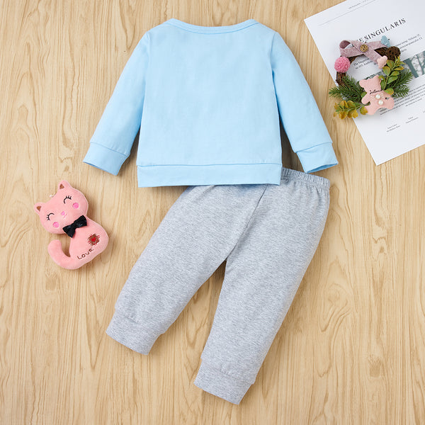 39PCS No Profit On Sale Clearance & Closeout Specials Baby Boys Long Sleeve Letter Elephant Top & Pants Wholesale Baby Clothes