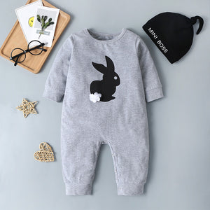 Baby 3D Flower Cartoon Rabbit Romper & Hat