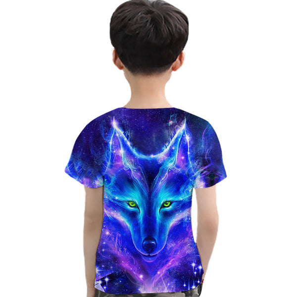 Unisex 3D Wolf Head Galaxy Printed Short Sleeve T-Shirts wholesale kids boutique clothing