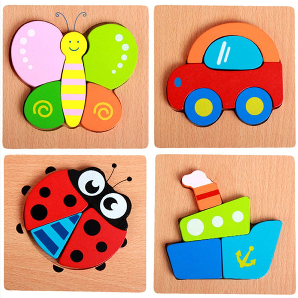 3D Wooden Animal Cognitive Building Blocks Early Education Educational Clutch Toys