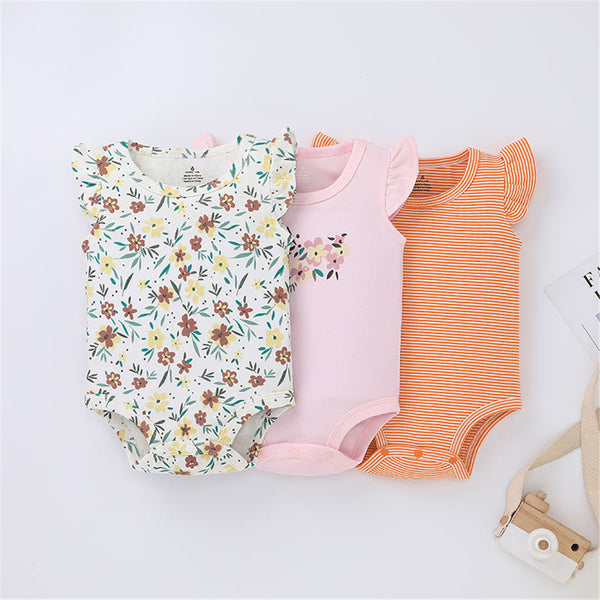 3PCS Baby Girls Flying Sleeve Striped Floral Printed Rompers cheap baby clothes wholesale