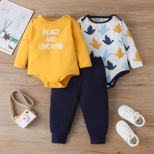 Baby Girls 3PCS Cartoon Printed Long Sleeve Rompers & Pants wholesale baby clothes