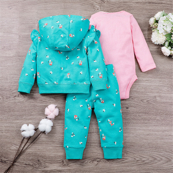 Baby Girls 3PCS Cartoon Printed Striped Sets Baby Clothes Wholesale Bulk