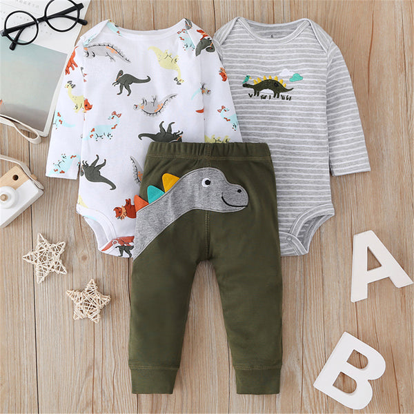 Baby Boys 3PCS Dinosaur Rompers & Trousers Wholesale Baby Outfits