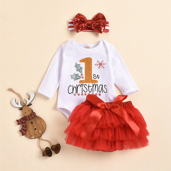 Baby Girls 3 PCS Letter Printed Romper & Tulle Skirt Wholesale Baby