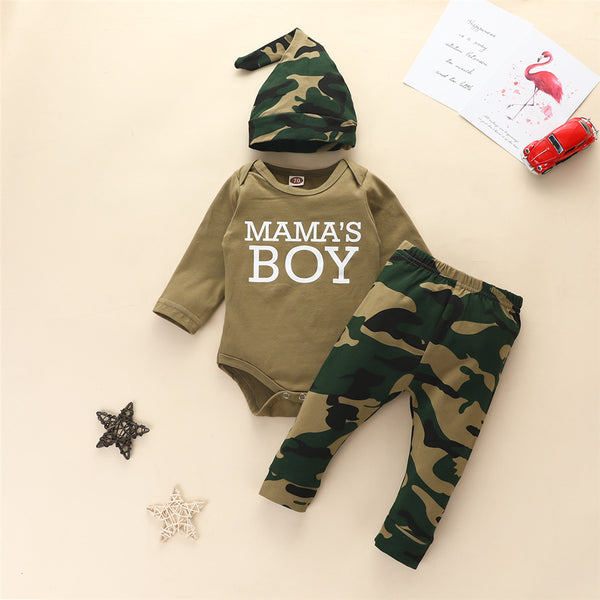 Baby Boys 3 Pieces Letter Camo Printed Baby Boutique Clothes Wholesale