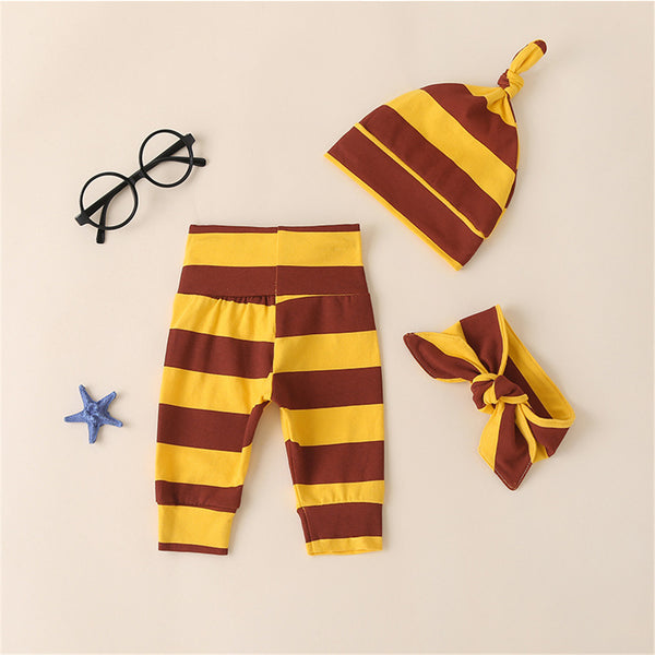 Baby Unisex 3 Pieces Striped Bottoms & Hat & Headband Baby Outfits