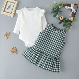 Baby Girls Solid Color Ruffled Long Sleeve Top & Plaid Skirt