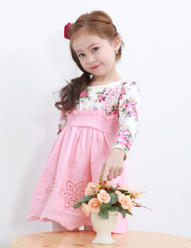 Girls Fashion Suspender Skirt Fake Two-Piece Dress Floral Print Dress