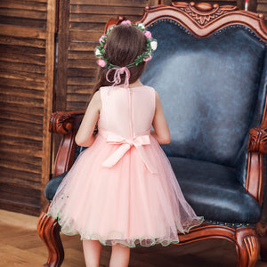 Girls Party Wedding Dress Princess Dress Embroidered Sleeveless Dress