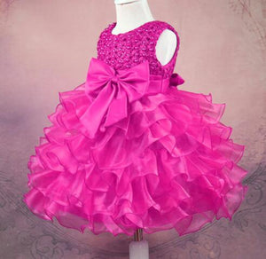 Girl Dress Beaded Cake Tutu Skirt Bow Princess Dress