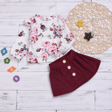 Toddler Girls Long Sleeve Floral Top Solid Color Skirt