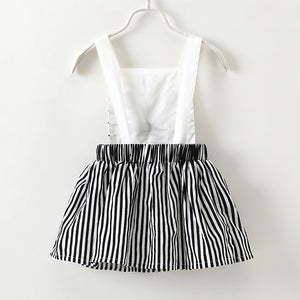 Cute Cat Embroidery Striped Design Dress For Baby Girls