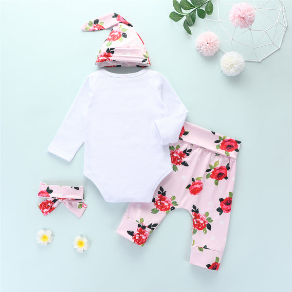 Baby Girls 4-Piece Letter Long Sleeve Romper & Floral Pants Baby Wholesale