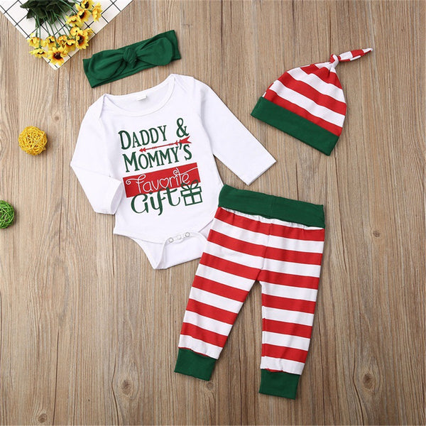 Baby 4-Piece Letter Striped Printed Sets Baby Clothes Vendors