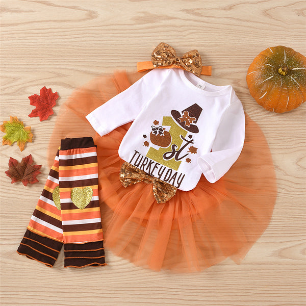 Baby Girls 4-Piece Thanksgiving Romper & Tulle Tutu Baby Boutique Wholesale