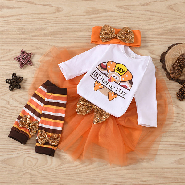 Baby Girls 4-Piece Turkey Day Romper & Tulle Skirt Baby Wholesales