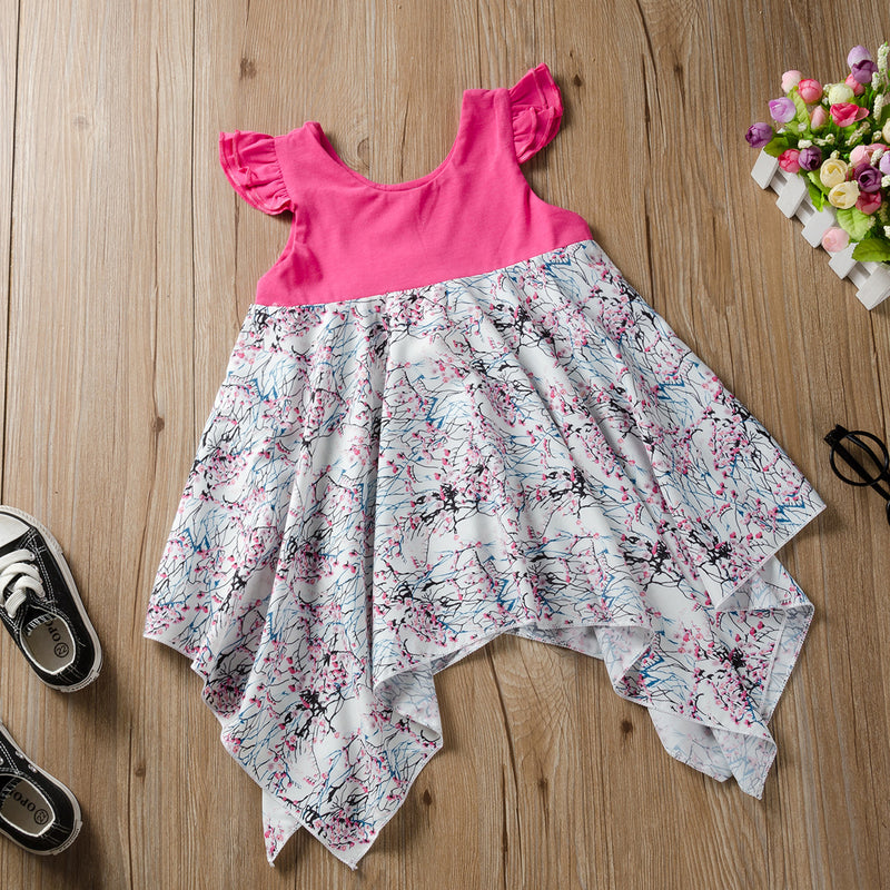 Fashionable Girls Plum Flower Irregular Tank Dress