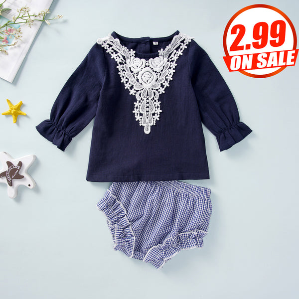 44PCS No Profit On Sale Clearance & Closeout Specials Baby Girls Long Sleeve Top & Striped Shorts Wholesale Baby Clothes