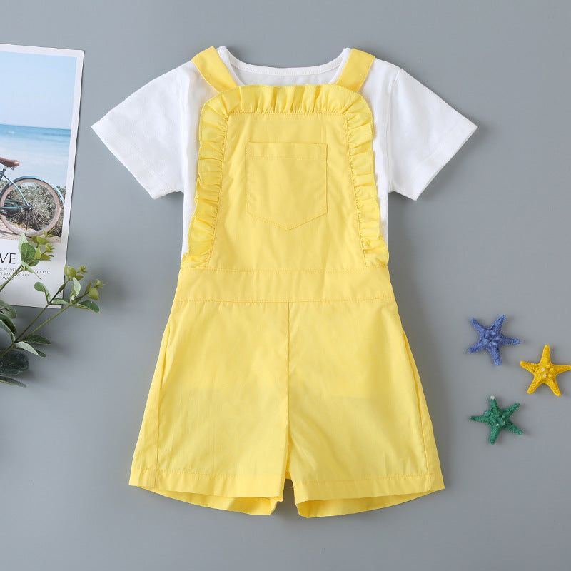 48PCS Clearance & Closeout Specials Girls Solid Short Sleeve Top & Yellow Jumpsuit Girls Clothing Wholesalers