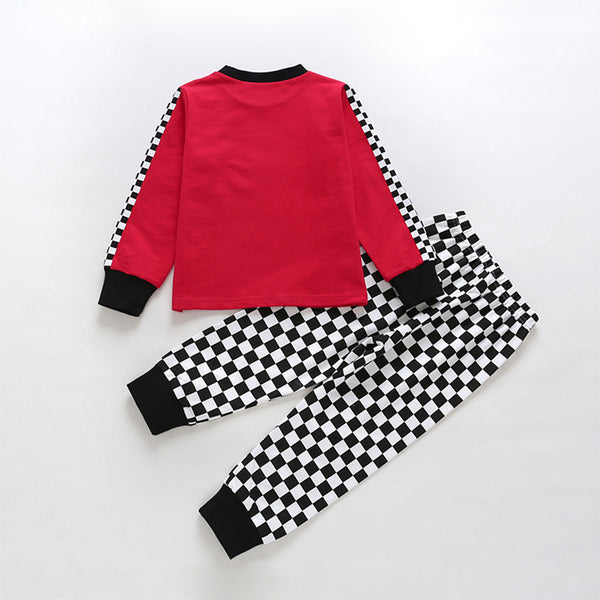 49PCS No Profit On Sale Clearance & Closeout Specials Boys Plaid Giraffe Car Printed Long Sleeve Top & Pants Boys Wholesale