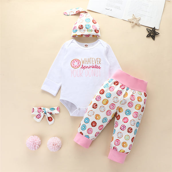 Baby Girls 4 PCS Donuts Cartoon Romper & Pants Baby Wholesale