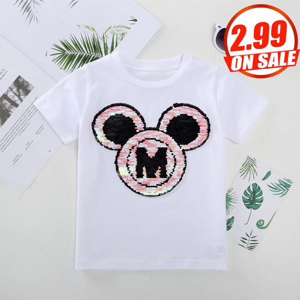 4PCS No Profit On Sale Clearance & Closeout Specials Girls Cartoon Short Sleeve Top wholesale childrens clothing