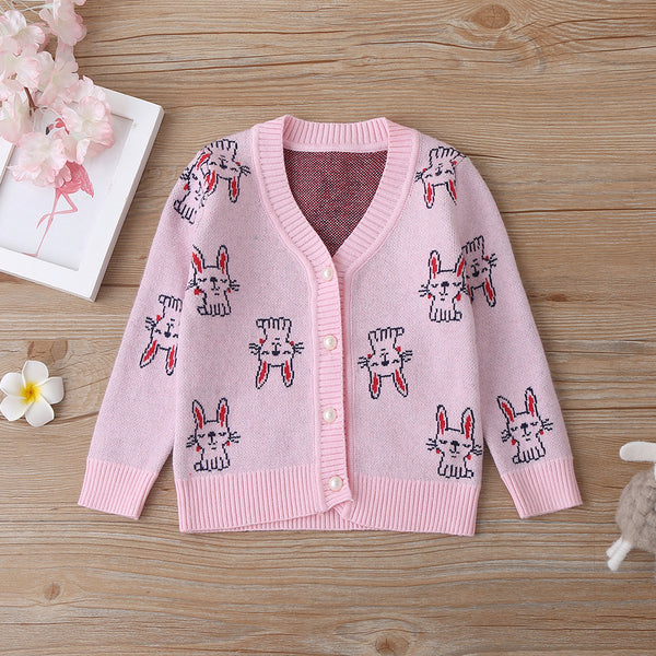 4PCS Baby Girls Rabbit Printed V-Neck Long Sleeve Cardigan Sweaters Cheap Baby Boutique Clothes