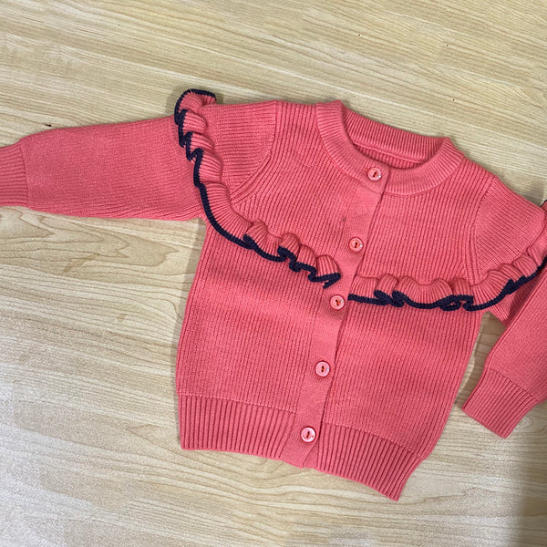 4PCS Baby Girls Ruffled Long Sleeve Button Crew Neck Sweater Wholesale Baby Clothes China