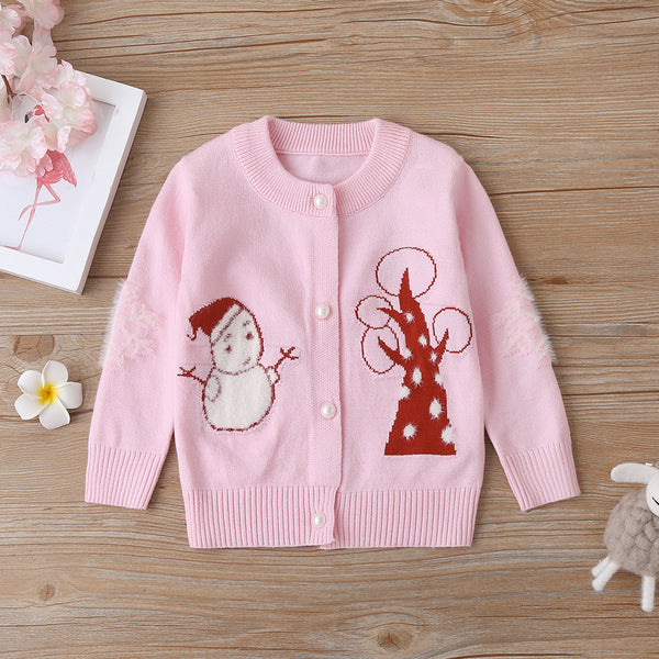 4PCS Baby Girls Snowman Long Sleeve Sweaters Wholesale Clothing Baby