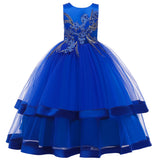 COTTNBABY Beautiful Girl Embroidered Long Princess Performance Dress