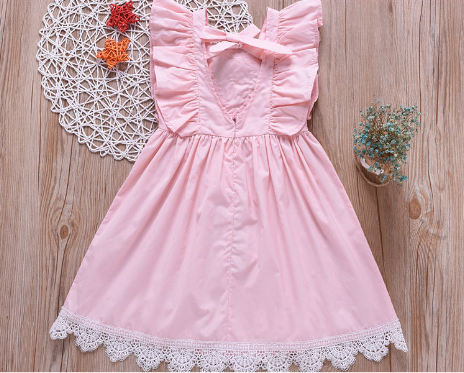 Fashionable Girls Fly Sleeve Flowers Lace Princess Dress