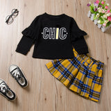 Girl's 2-Piece Black Ruffled Long Sleeve Top Plaid Short Skirt