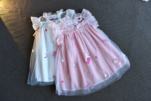 Girls Trendy Ruffle Collar Dress Unicorn Tulle Princess Dress