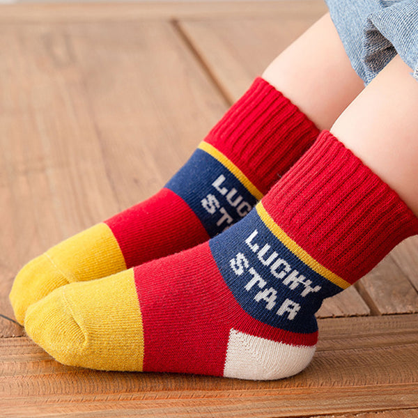 Baby 5-Pairs Cartoon Letter Color Block Socks Baby Accessories Wholesale