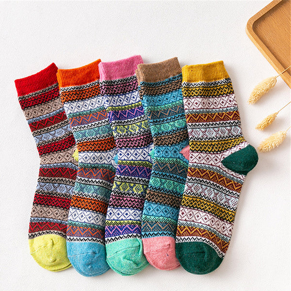 Women 5-Pairs Casual Winter Socks Accessories Wholesale