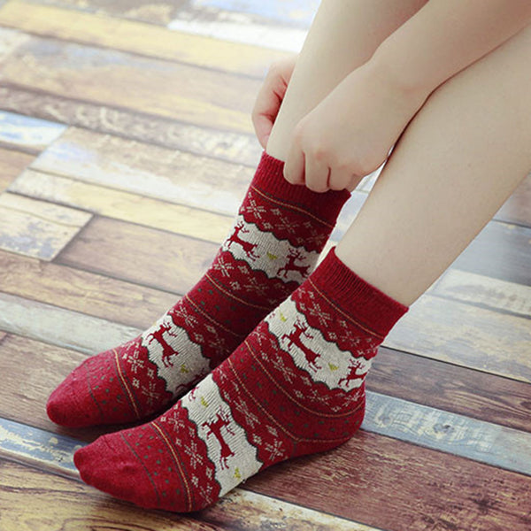 Women 5-Pairs Christmas Cartoon Casual Socks Accessories Wholesale