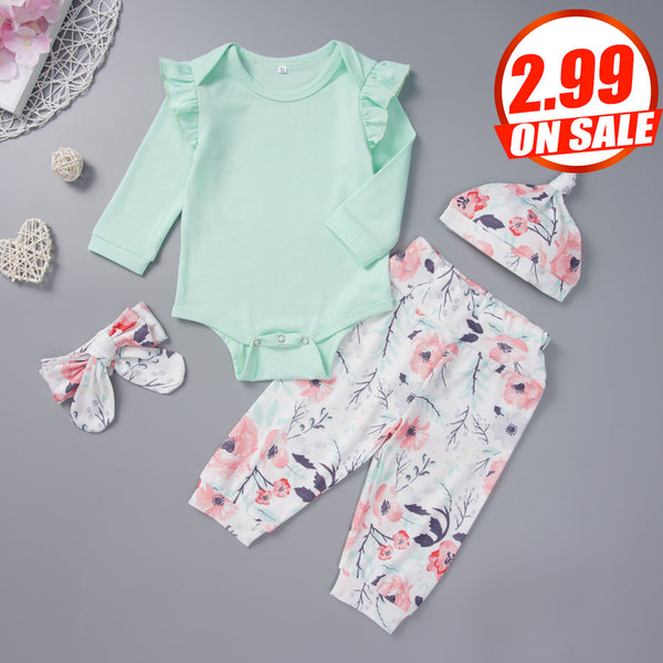 50PCS No Profit On Sale Baby Girls Long-sleeve Top & Pants & Hat baby clothes wholesale