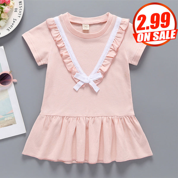 50PCS No Profit On Sale Baby Girls Short Sleeve Ruffled Bow Dresses Wholesale Baby Clothes