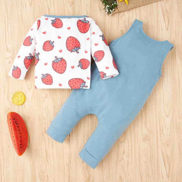 50PCS No Profit On Sale Baby Girls Strawberry Printed Long Sleeve Top & Jumpsuit baby clothes wholesale