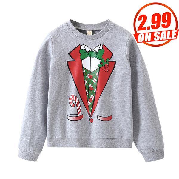 50PCS No Profit On Sale Boys Long Sleeve Christmas Printed Top trendy kids wholesale clothing