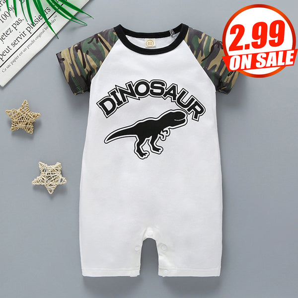 50PCS No Profit On Sale Clearance & Closeout Specials Baby Boys Camo Dinosaur Printed Short Sleeve Romper wholesale baby boy clothes