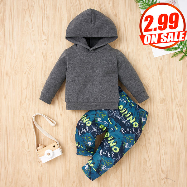 50PCS No Profit On Sale Clearance & Closeout Specials Baby Boys Hooded Long Sleeve Top & Pants Wholesale Baby Clothes