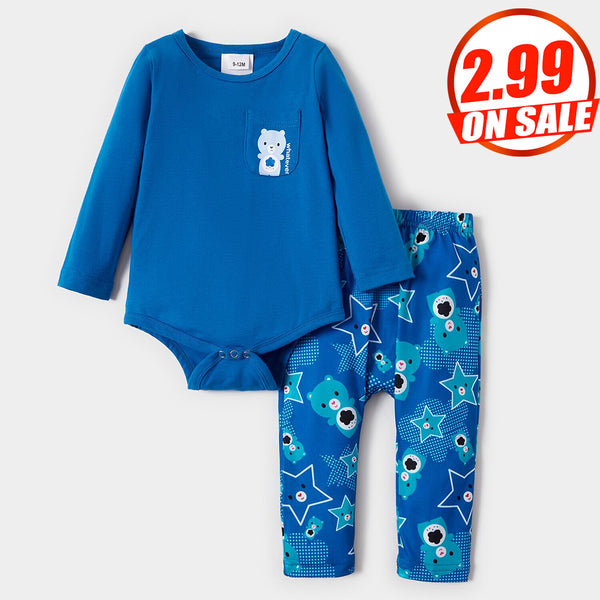 50PCS No Profit On Sale Clearance & Closeout Specials Baby Boys Long Sleeve Cartoon Romper & Pants wholesale baby clothes usa