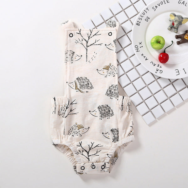 50PCS No Profit On Sale Clearance & Closeout Specials Baby Girls Cartoon Hedgehog Printed Sling Romper baby wholesale